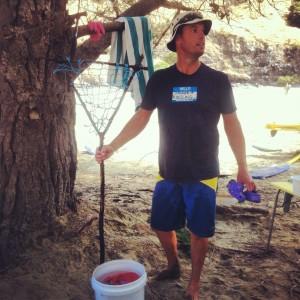 Nick and his home-made crab rake.