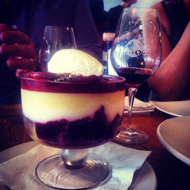 THE best ever Tamarillo trifle @pegasusbaywine for Deb's 40th. So much #NorthCanterbury love this afternoon.
