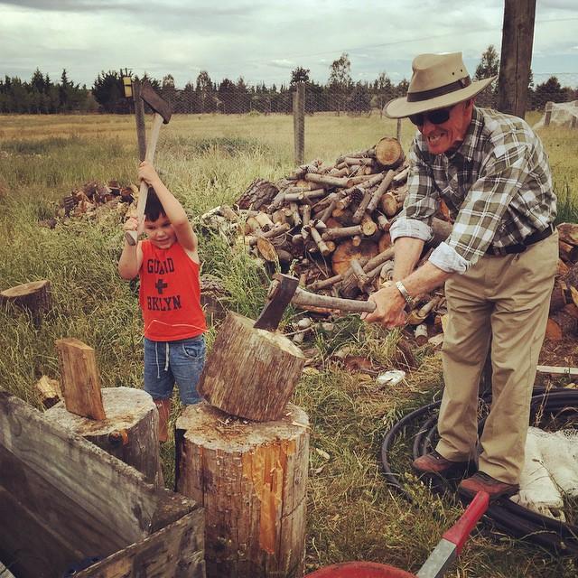 Life skills with Grandpa. #WoodfiredOven #FoodFarm