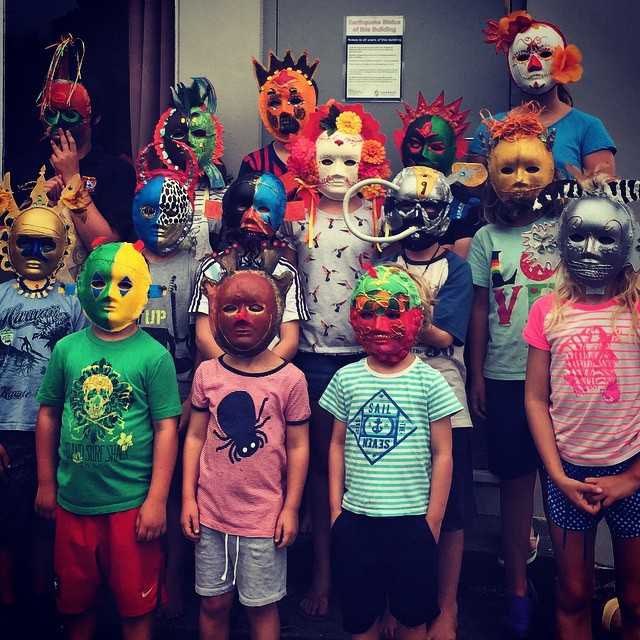 Magnificent mask making art class in #Waikari this week. A reminder for me of the limitless imagination of children.