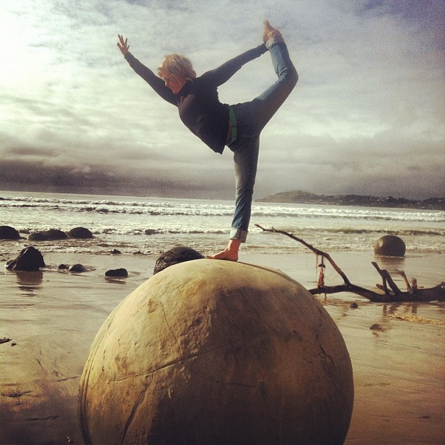 @theyogaclubnz on a Moeraki Boulder. Happy birthday beautiful friend. X