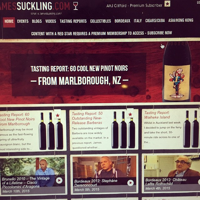 Well, hellllooo home page of JamesSuckling.com this morning! Tongue in Groove 2012 Clayvin Vineyard Pinot front & centre. 96 points, sharing top score love with @flowerdaynz! So good.