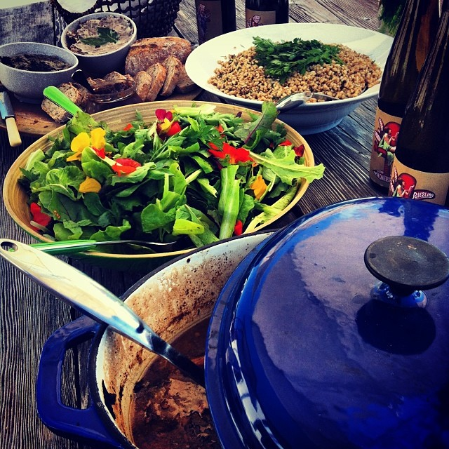Tongue in Groove lunch. #FoodFarm chicken & rabbit casserole. Rillettes & pâté from our ducks. Salad from the garden, Milmore Downs new season barley, Ursula's bread. #northcanterbury love on the table.