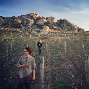 Kate McMillan (front) in her family's Arden Pinot Noir vineyard.