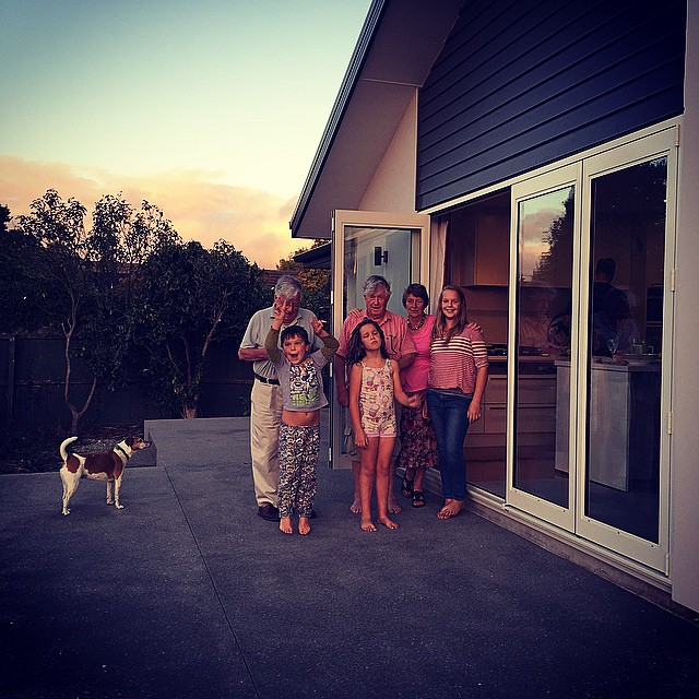Such a simple family photo on the face of it. But this is my parents' new home after 4  and a half years of battling bureaucracy & insurance companies when our family home was fatally damaged in the Christchurch earthquakes. New era on this piece of land we've occupied for over 55 years. So good. #Eqnz