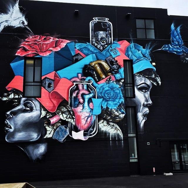 'Home is Where the Heart Is' by Australian artist Daek Williams. #RiseUp #Christchurch #StreetArt