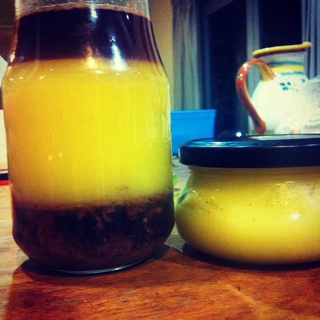 #FoodFarm duck fat. First & second 'press'. Note the yellow grass fed love.
