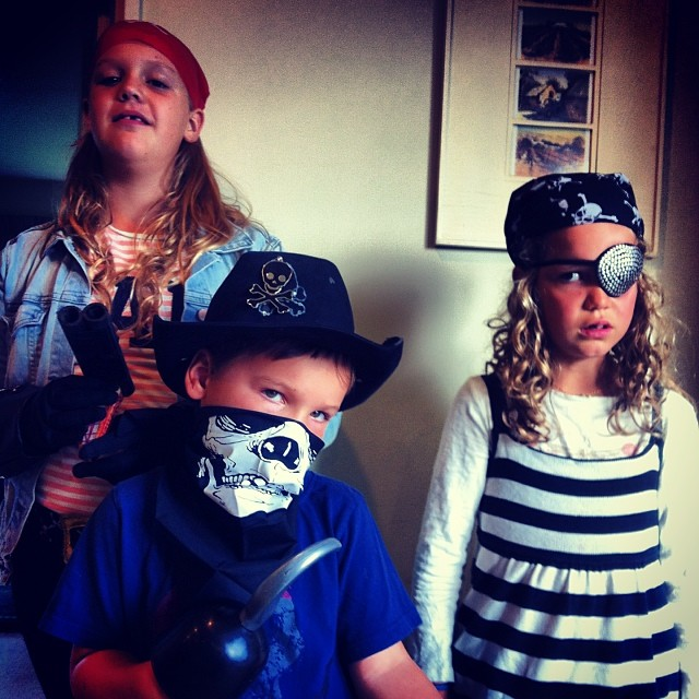 My children are pirates every morning. This morning they dressed the part. Pirate day started at 4:30am when youngest burst into the room yelling 'Ahoy me hearties'!