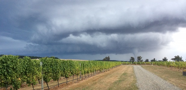 The tornado and associated hail threatens our North Canterbury vineyards