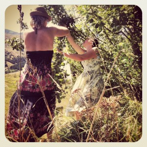 Picking wild apples with friends.