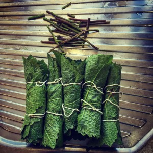 Tied grape leaves with stems removed